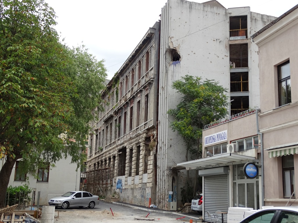 bullet ridden buildings in Mostar - signs of the war.
