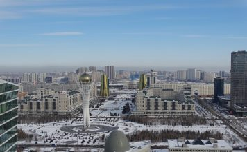 Views of the Bayterek, one of the best things to see in Nur-Sultan